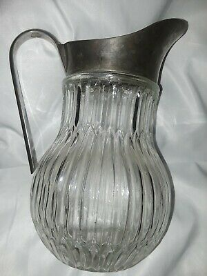 Vintage Italy Silver Plate Ribbed Crystal Glass Water Ice Pitcher Lipped Barware 3