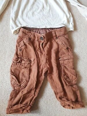 Girl's Age 5,  brown 3/4  length trousers by Next and a cream coloured top... 2
