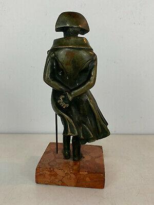 Antiguo 19th Siglo Bronce Napoleon Figura Estatua sobre Rojo Mármol Base 3