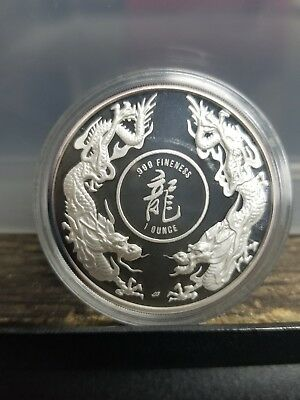 1986 Republic of Singapore 1 oz Proof Silver Dueling Dragons 3