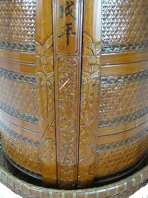 Chinese Antique Bamboo Food Box w Basket 5