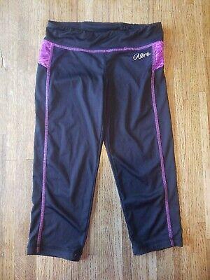 3 Pc Girl's Active Wear Lot Cropped Capri Leggings Spandex Shorts Gray Black - S 2