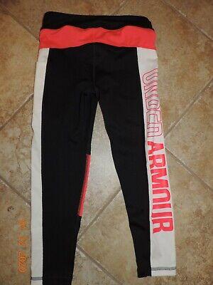 Under Armor Girl Cropped Leggings Black Pink White sz M~NWT 2
