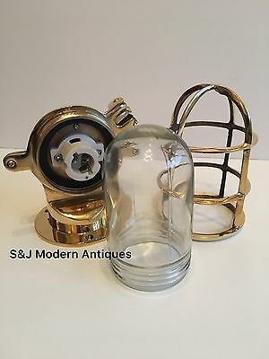 Antique Industrial Wall Light Vintage Cage Bulkhead Gold Brass Ship Lamp Old 2