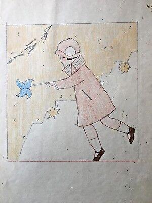 Margaret Iannelli original drawing Prairie School peer of FL Wright c.1925 2