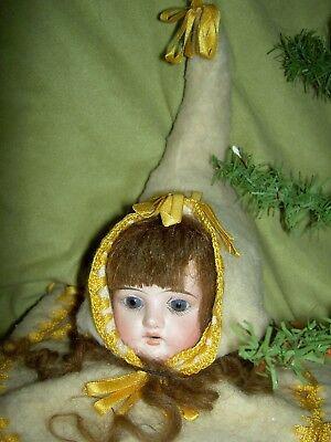 Charming antique German, Victorian era bisque doll shoulderhead sewing accessory 5