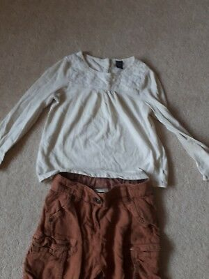 Girl's Age 5,  brown 3/4  length trousers by Next and a cream coloured top... 6