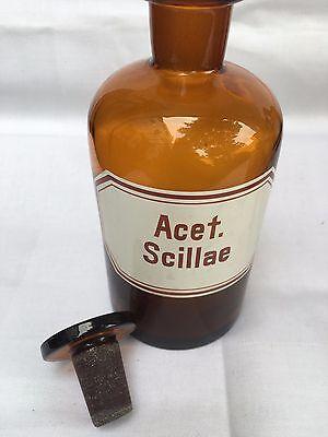 alte Apothekerflasche Braunglas Gefäß Apotheke 18cm Acet.Scillae #85