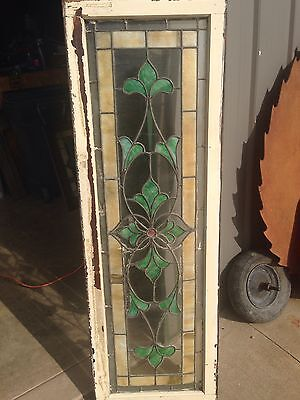 Sg 51 Is A Long Antique Transom Stainglass Window With Flower Design 2
