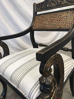 Pair of English Antique Regency Style Cane Back Painted Arm Chairs 12