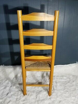 Antique Shaker Style Ladder Back Accent Chair Woven Seat (2 available) 6