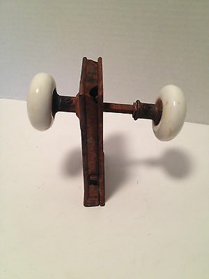 Three Porcelain Door Knobs W/ Lock (No Key) 1 Single & 2  W/lock 6