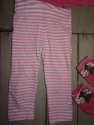 Ensemble rose leggins rayé, pull, gilet, 2 paires de chaussettes Taille 2 ans 2