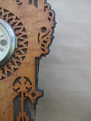 Antique GOTHIC wall clock BLACK FOREST - FRET WORK  bird's eye maple and exotic 6