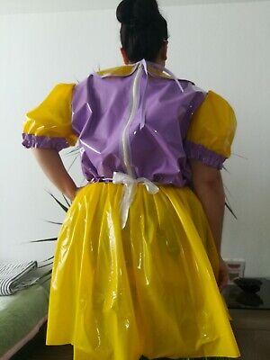 Adult Baby Kleid  INTEGRIERTE Windelhose Sissy PVC LACK Diaper Plastik L- XL 3