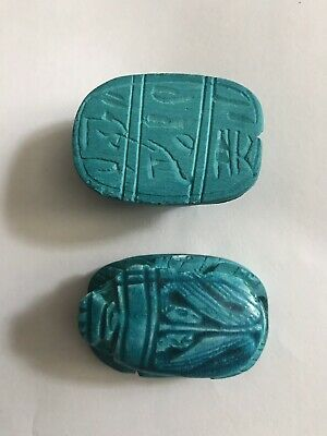 2x_Egyptian Pharaoh Scarab Paperweight Sculpture, Hand Carved ceramic, (4x3) Cm 2