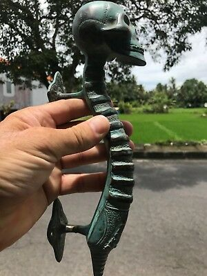 2 medium SKULL handle DOOR PULL spine solid brass old vintage aged GREEN 28cm B 9
