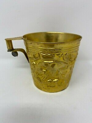Rare Ancient Greek Mycenaean Art Replica Gold Bull Cretan Cup Hand Made Greece 6