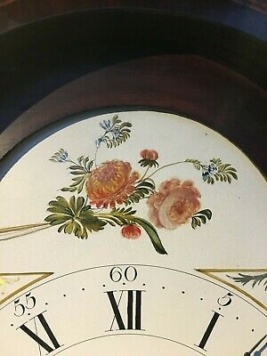 Antique painted dial longcase clock signed Holliwell & son Derby (30 hr) 4