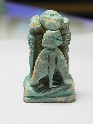 Zurqieh -Af951- Ancient Egypt - Large Faience Amulet Of Pataikos , 400 - 300 B.c 3 • CAD $1,258.35