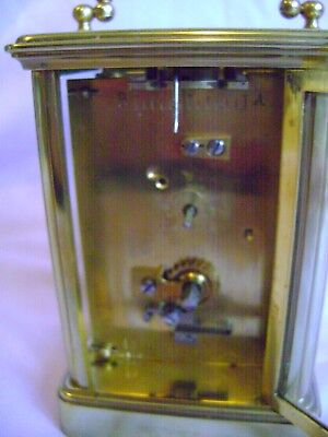 Antique Margaine Timepiece Small Carriage Clock + Key In Good Working Order 7