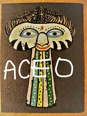 """A872  NEW -    ORIGINAL ACRYLIC ACEO PAINTING BY LJH    """"MASK""""  One-Of-A-Kind 4"""