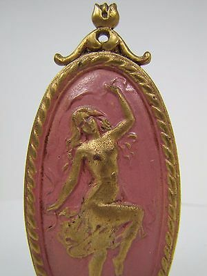 Antique Art Nouveau Finial partially nude dancing lady nymph brass gold pink 3
