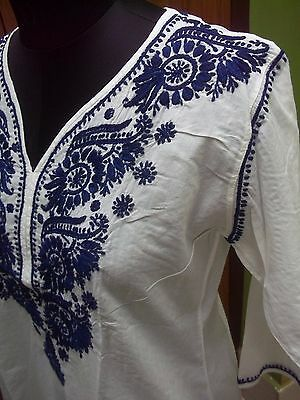 Ethnic M L Xl 100% Cotton Long Handmade Top Chikan Embroidery Kurta Kurti Tunic