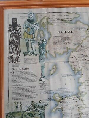 VINTAGE MEDIEVAL ENGLAND MAP 31 x 24 ins PRINTED IN WASHINGTON 1979. 2