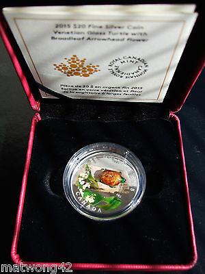 2015 Canada $20 Murano Venetian Glass Turtle 1oz Silver Proof Coin 3