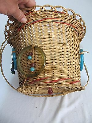 Antique Woven Wicker Reed Round Hanging Sewing Basket~Glass Bead Tassels~Vintage 9