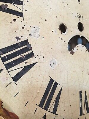 Antique Grandfather Clock Dial Hand Painted Cabin Decoration 1800's 11
