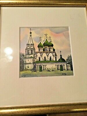 1 of 3 Framed Matted Glass Original Russian Signed Watercolor Ink Fine ART NICE! 4