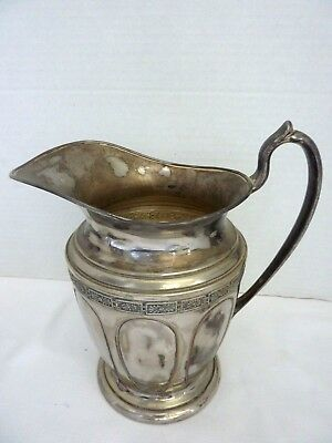 "Crescent Silver Co. Vintage Engraved Silverplate Pitcher ~ 9 1/2"" 2"