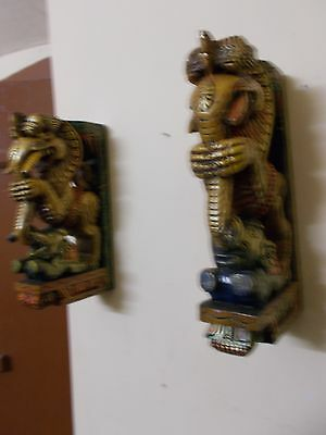 Wooden Bracket Hindu Temple Corbel Yalli Pair Dragon Statue Figure Wall Plaque 5