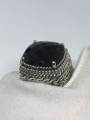 Vintage Genuine Brown Smoky Topaz Matte 925 Sterling Silver Deco Size 7 Ring 2