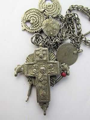 Ancient Byzantine Medieval Cross Crucifix silver alloy, pendant 7