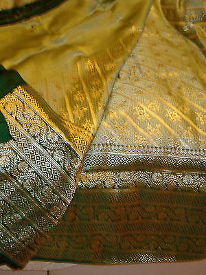 Bn Ladies Green & Gold Banarsee Saree With Heavy Border With Blouse Piece 5