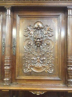 Carved Victorian Walnut Flemish Buffet Bookcase Bacchus Dresser GreenManPussyOak 8