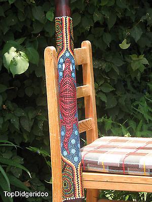 """Teak Wood LIZARD Artwork Dot-Paint 51/""""\130cm DIDGERIDOO+Bag+Beeswax Mouthpiece"""