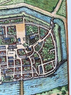 Old Antique Historic Map Bremen, Germany: 1598 Braun & Hogenberg REPRINT 1500's 4