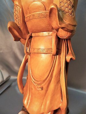 Very Fine Hardwood Detailed Old Chinese Carved Warrior Figurine Statue 6