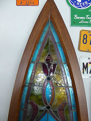 ANTIQUE CHURCH STAINED GLASS WINDOW - LATE 1800's - READY TO MOUNT ON WALL 2