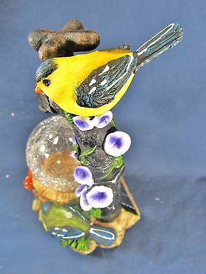 Yellow Bird on a Water Faucet w/ glass globe and LED light yard or patio decor 3