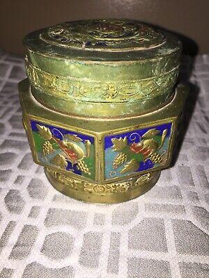 Antique Asian Brass Enameled Lidded Canister Jar 8