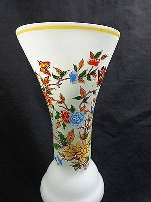 White Frosted Glass Vase 10 Floral Butterfly Made In Peru Ucgc
