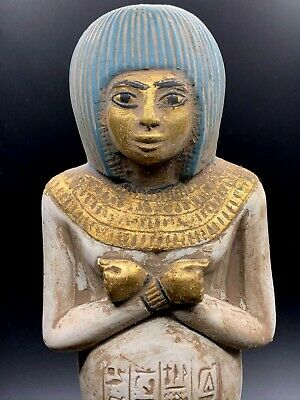 EGYPTIAN ANTIQUES EGYPT STATUE Ushabti HIEROGLYPHS Shabti Carved STONE 3240 BC 3