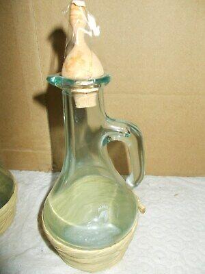 2 pz Fiasco fiaschetto Impagliato vetro Pitti olio e aceto con tappo terracotta 2