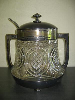 Original alte Bowle, Glas, Messing versilbert mit Bowlelöffel, 36 cm hoch 10