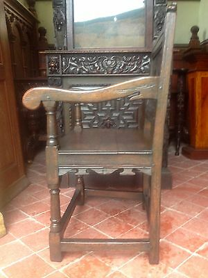 Splendid 17th century lozenge carved oak Wainscot armchair Anglesey North Wales 6